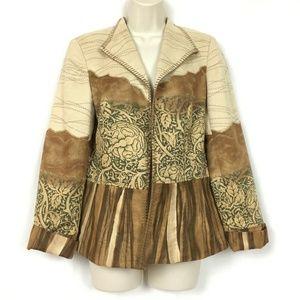 Coldwater Creek Blazer Jacket 8 M Brown Tan